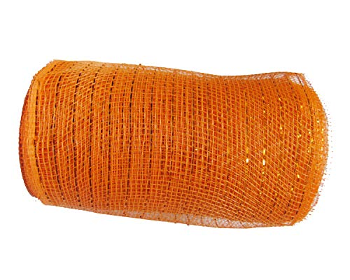 YYCRAFT 10 Yards Metallic Deco Poly Mesh Ribbon for Decoration/Wreath Making Craft (Halloween Orange, 6