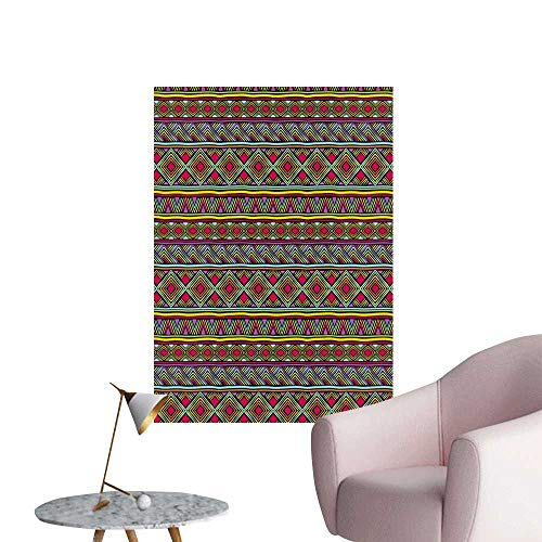 African Home Decor Decals Mural Colorful Ethnic Diamond Motifs with Angled Lines Lively Palette Geometric Borders Lady Room Wall Multicolor W32 x H48 ()