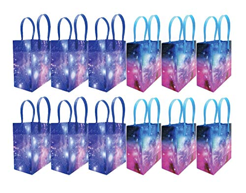 Galaxy Outer Space Party Favor Bags Treat Bags, 12 Pack -