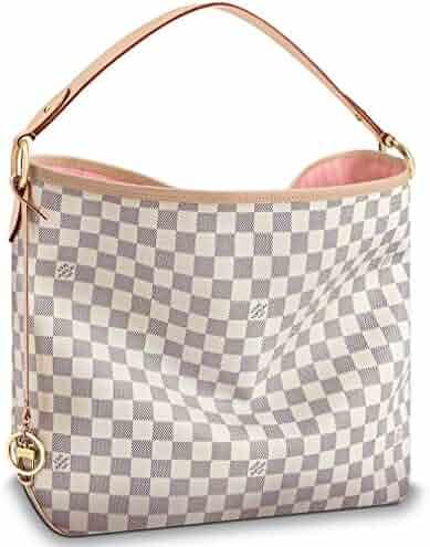 d77d21606f71da Louis Vuitton Damier Azur Canvas Delightful MM Handbag Rose Ballerina  Article  N41607 Made in France