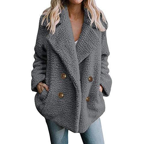QYM Duffle Coat Women, Women's Casual Jacket Winter Warm Parka Outwear Ladies Coat Overcoat Outercoat (Color : Grey, Size : L)