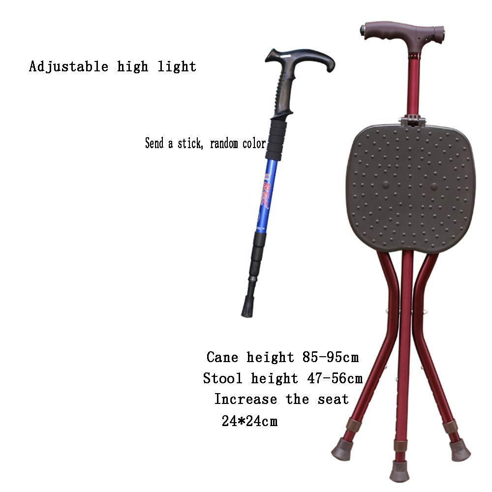 古い人の折り畳み式の椅子の杖のスツール多機能3足のマッサージの杖ランプ伸縮アンチスキッド杖のスツール   B07RKP5MV1