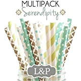 Charmed neutral blue sea foam green , ivory, gold, paper straws in damask, stripe and polka dot 125 PK