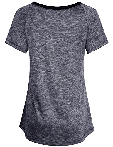 Miusey Short Sleeve Blouses for Women, Ladies V Neck Triblend Gym Workout Activewear Slimming Running Tshirt Top Raglan Exercise Soft Cozy Sassy Beautiful Grey M by Miusey (Image #1)