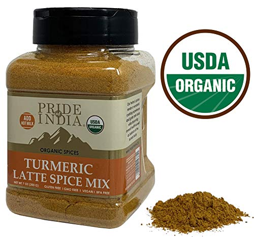 Pride Of India - Organic Turmeric Latte Spice - 7oz (200gm) Sifting Jar - Vegan 6 Spice Blend & Healthy Supplement - Instantly Make Perfect Golden Milk & Smoothies - - Spice Golden