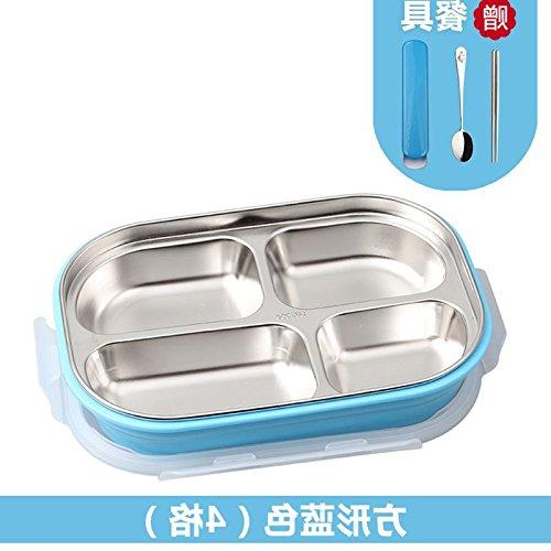 Luckyfree Mittagessen Container 806 Edelstahl mit Fächern Bento Box für Studierende Erwachsene Kinder das Essen bei einem Picknick Behälter Edelstahl Edelstahl mit Fettfüllung, Bügeleisen, Blau 4 Format/Besteck