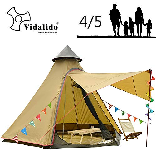 Vidalido 12'x10'x8'Dome Camping Tent 4-5 Person 4 Season Double Layers Waterproof Anti-UV Windproof Tents Family Outdoor Camping Tent(Yellow)