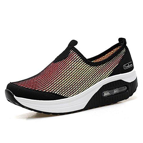 Enllerviid Tyc-7673meihonghuang37 Donne Scivolano Su Scarpe Con Zeppa Modellano Camminare Fitness Tonificano Allenarsi Sneakers Giallo 6 B (m) Us