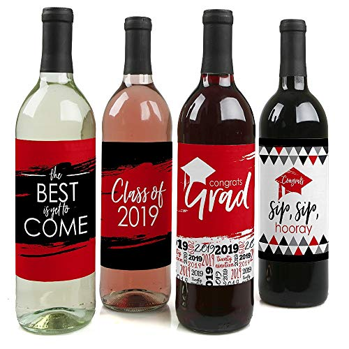 Red Grad - Best is Yet to Come - Red 2019 Graduation Party Decorations for Women and Men - Wine Bottle Label Stickers - Set of 4 (Best Wine Labels 2019)