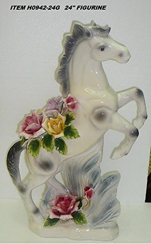 "Capodimonte Style Ceramic Horse Flower Centerpiece -24"""