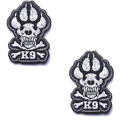 ODSP K9 Crossbones Killer Attack Police Dog Patch Embroidered Army Swat Military Tactical Morale Badge Emblem Embroidered Fastener Hook & Loop Patch for Pet Harnesses Vest (2PCS)