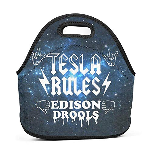 Mesllings Tesla Rules Edison Drools Lunch Bag Insulated Reusable Neoprene Lunch Box Waterproof Tote Bento Bag with Zippe Handbag for Men, Women, Adults, Kids, Girls, Boys
