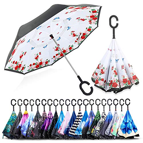 (ZOMAKE Double Layer Inverted Umbrellas for Women, Reverse Folding Umbrella Windproof UV Protection Big Straight Umbrella for Car Rain Outdoor With C-Shaped Handle(Flowers & Butterflies))