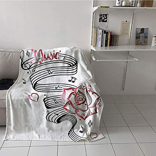 Suchashome Children's Blanket Cozy Plush Throw Blanket (60 by 80 Inch,Tattoo Decor,Language of Love Valentines Musical Inspiration on Sheet with Rose Hearts,Black and -