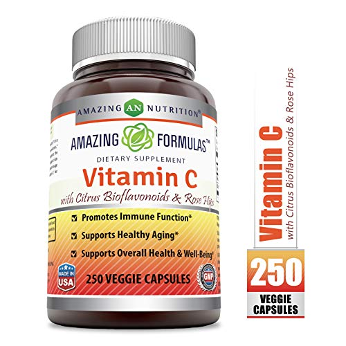 (Amazing Formulas Vitamin C (Ascorbic Acid) - 1000mg with Rose Hips & Citrus Bioflavonoids, 250 Vegetarian Capsules (Non-GMO) - Promotes Immune Function - Supports Healthy Aging - Supports Overall)