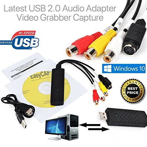 Capture Card Video USB 2.0 VHS to DVD Adapter Converter EasyCap for PC PS3 XBOX USB VHS Tapes To PC DVD Video Audio Converter 3 RCA DVR CCTV ()