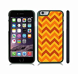 iStar Cases? iPhone 6 Case with Chevron Pattern Orange/ Brown/ Yellow Stripe , Snap-on Cover, Hard Carrying Case (Black) by icecream design