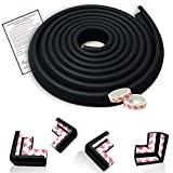 Mom's Besty Extra Dense Child Safety Protectors & Furniture Bumpers Set - 16.2 Ft. Total Coverage (15 Ft. Edge & 4 Taped Corner Guards) - Ebony Black - Free Home Baby Proofing Checklist
