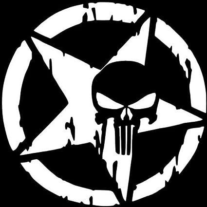Alivier Punisher Stern Schädel Auto Aufkleber Auto Body Stoßstange Aufkleber Vinyl Aufkleber Küche Haushalt