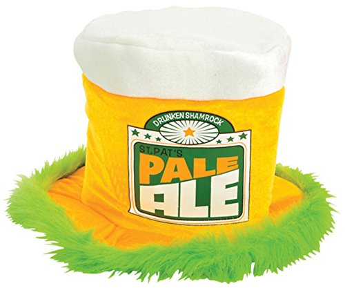 Pale Man Costumes (St Patricks Day Green Irish Pale Ale Costume Beer Mug Fur Trim Top Hat)