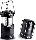 Estiq Ultra Bright Portable 30 LED Lighting Lantern Flashlight- Home & Outdoor Suitable Uses: Outages, Emergencies, Hurricanes, Hiking, Camping, Picnicking, Night Parties (Light Weight, Collapsible, Water Resistant, Black) by Shopsimple