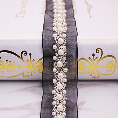 (USJee 1 Yard Mess Pearl Beaded Applique Crystal Patches for Wedding Sash Bridal Belt DIY Sewing Decor)
