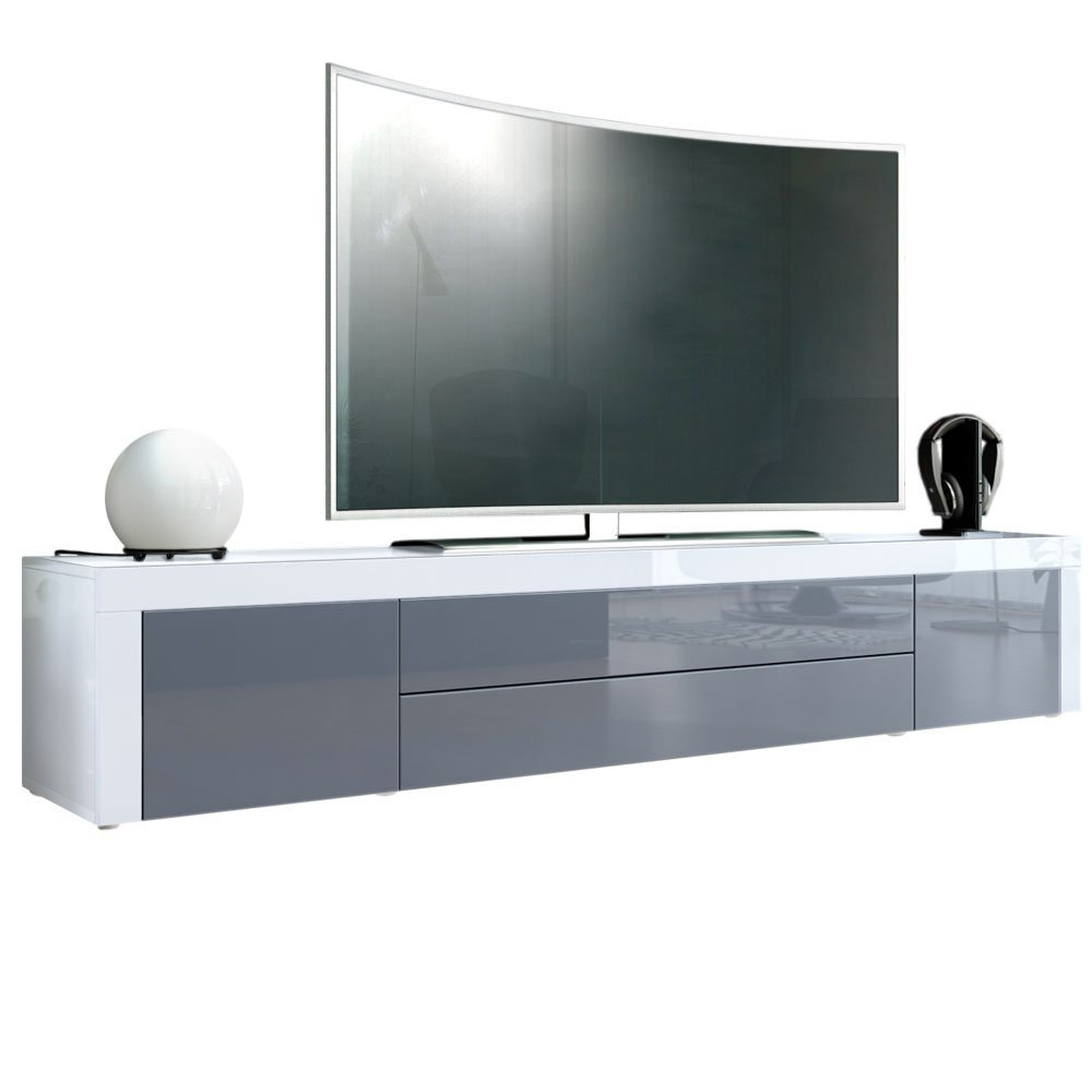 Tv Stand Unit La Paz Carcass In White High Gloss Front In Grey  # Vladon Meuble Tv