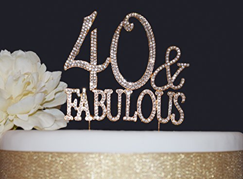 Fabulous Cakes - 40 and Fabulous GOLD Cake Topper | Premium Sparkly Crystal Rhinestones | 40th Birthday Party Decoration Ideas | Quality Metal Alloy | Perfect Keepsake (40&Fab Gold)