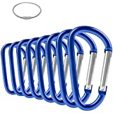 """ZEINZE Carabiner Clip 3"""" Aluminum D-Ring Spring Loaded Gate Small keychain Carabiners Clip Set for Outdoor Camping mini Lock Hooks Spring Snap Link Key Chain Durable Improved"""