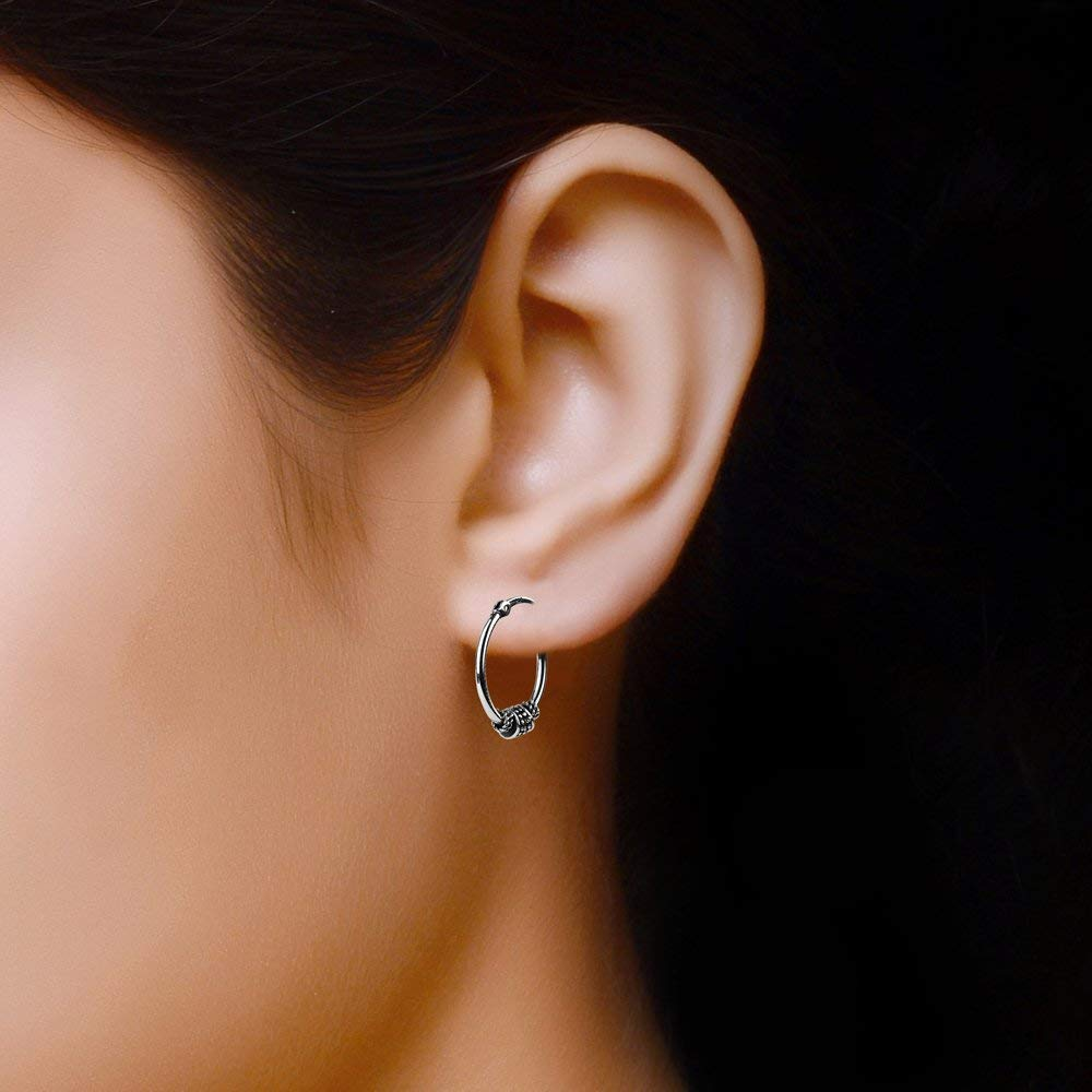 LeCalla Sterling Silver Jewelry Light Weight Oxidized Tribal Bali Hoop Earring for Girl