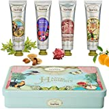 Deluxe 4 Hand Creams Beauty Gift Set, Shea Butter, Argan Oil, Aloe Vera|Perfume Verbena, Rose, Lily of the Valley, Almond Nourishing,Hydrating, Paraben Free 4x0.9 fl oz, Birthday Gift Idea