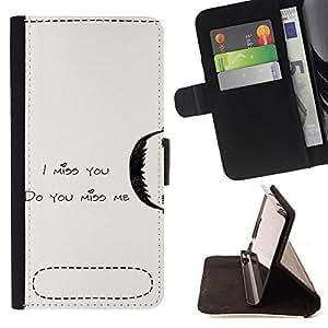 King Case - FOR Sony Xperia Z3 D6603 - i miss you - Prima caja de la PU billetera de cuero con ranuras para tarjetas, efectivo Compartimiento desmontable y correa para la mu?eca