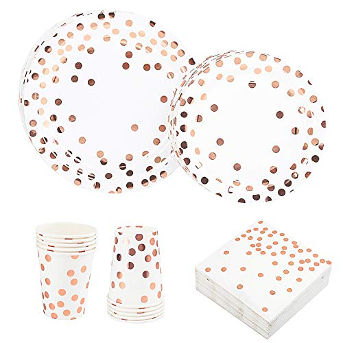 Rose Gold Dot Disposable Cups Paper Plates Napkins Set 200 PCS, Foil Design 50 Cups 50 Dinner and Dessert Plates 50 Napkins Rose Gold Party Supplies Bridal Baby Shower Wedding Anniversary Birthday