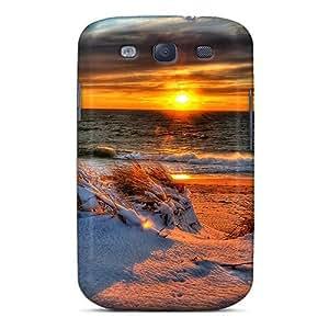 Galaxy S3 Snowy Beach Sunset Print High Quality Tpu Gel Frame Case Cover
