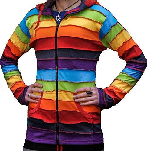 Shopoholic Fashion Women Rainbow Rib Hoodie [2XL]