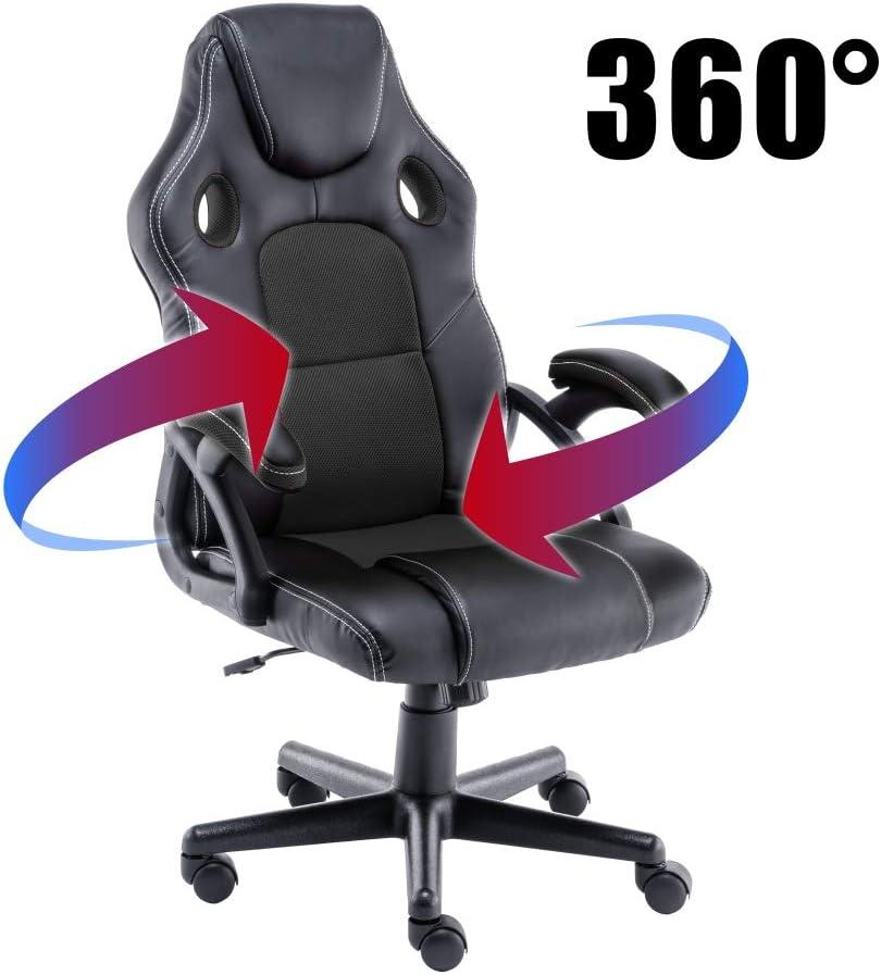 play haha Gaming-Stuhl Racing Style B/¨/¹ro-Drehstuhl Gasdruckfeder ergonomischer Konferenzstuhl mit Lendenwirbelst/¨/¹TZE SGS-gepr/¨/¹ft PU-Leder mit verstellbarem Arbeitsstuhl