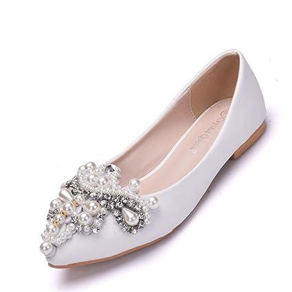 Mujer Nupcial Zapatos Para Novia Mujer Blanco Ponerse Boda Diamante Perla Resplandecer Mocasines Bajo Talones Señoras