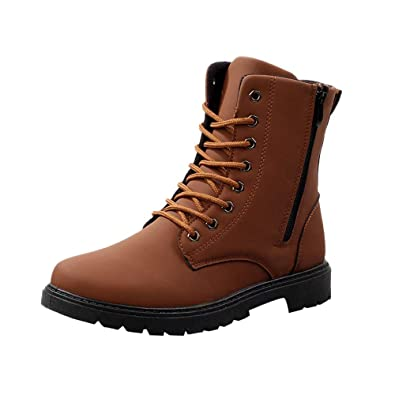 Danhjin Mens Boots Adult Retro Martin Boots Desert Military Boots PU Leather High to Help Ankle