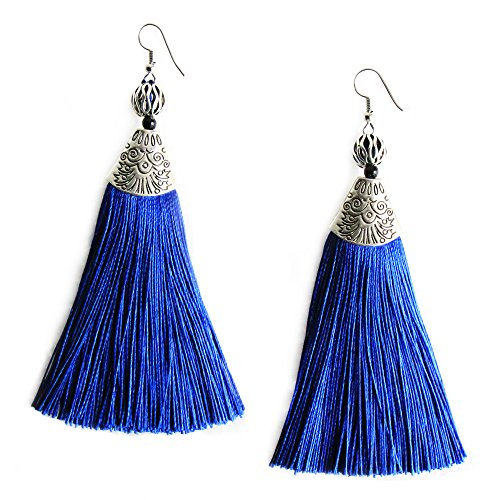 Me&Hz Blue Big Long Drop Earrings Generous Dangle Beaded Tassel Earring for Women Girls