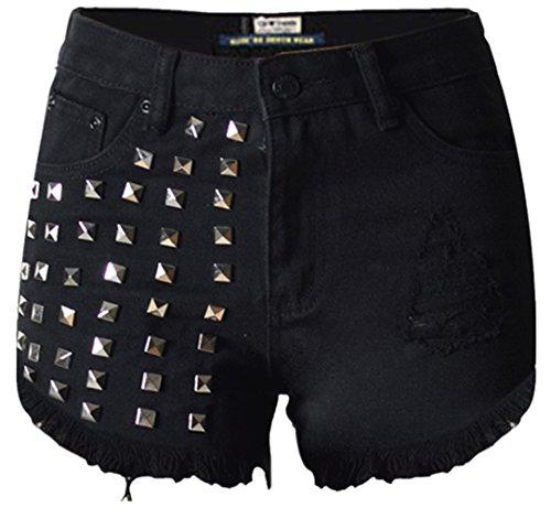 Beautisun Femmes Denim Shorts t Trou De Rivet Taille Haute Trois Couleurs Haute lastique Coton Denim Shorts Pantalon Chaud Taille Pantalon Shorts Denim Jeans Pocket Noir