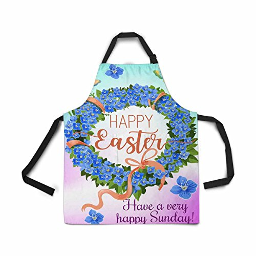 InterestPrint Adjustable Bib Apron for Women Men Girls Chef with Pockets, Easter Wreath Spring Flower Green Leaves Pink Ribbon Butterfly Kitchen Apron for Cooking Baking Gardening Grooming Cleaning