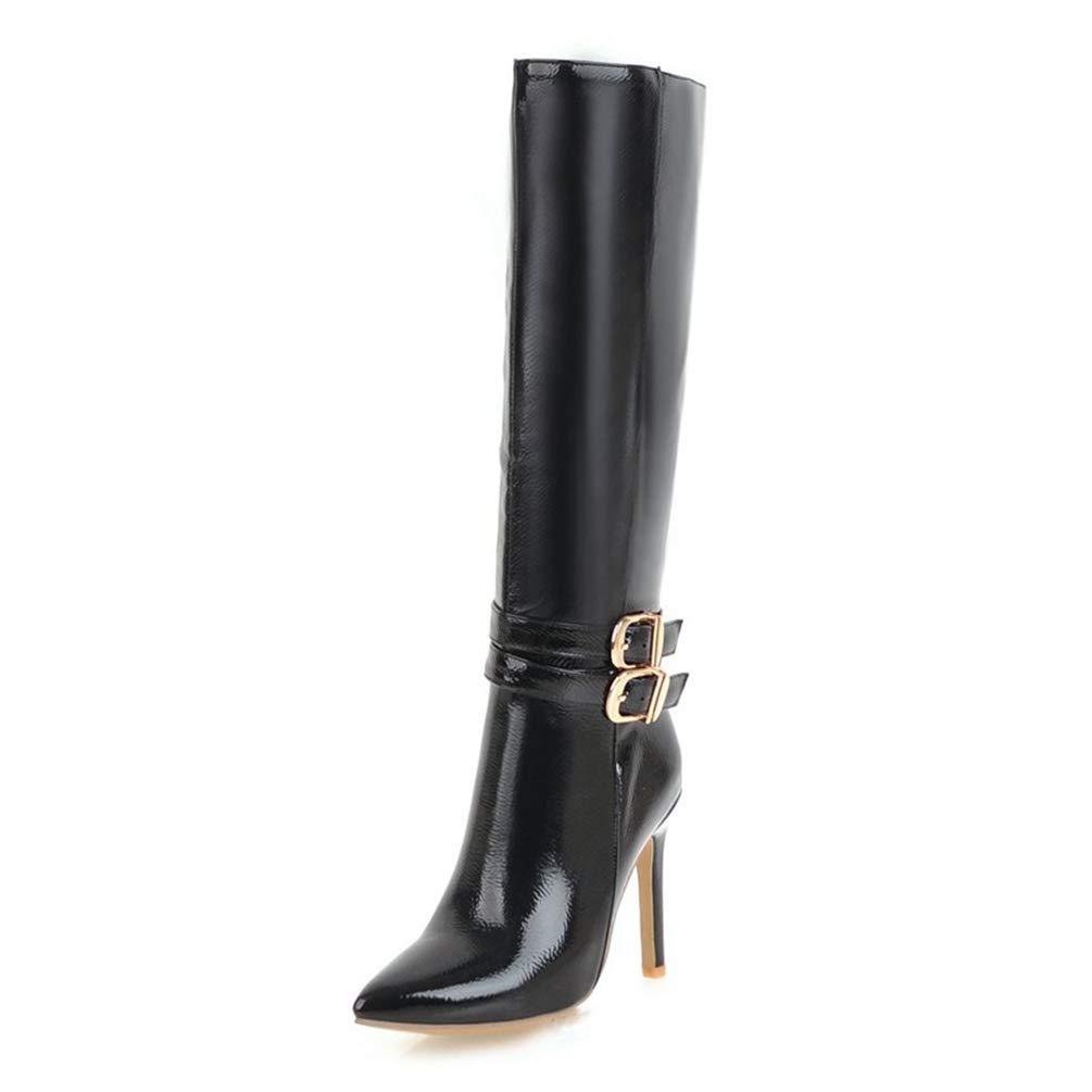 Balck T-JULY New Ladies Zip Up Pointed Toe Boots Woman Thin High Heels shoes Ladies Knee-High Large Size Boots