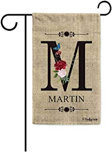 KafePross Welcome Spring Summer Flowers Monogram M Decorative Garden Flag Customized Your Last Name and Initial Letter Home Decor Banner for Outside 12.5X18 Inch Print Double Sided
