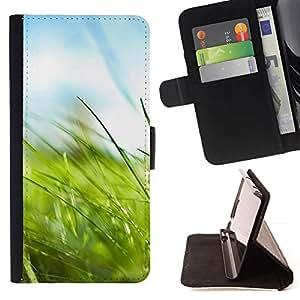Momo Phone Case / Flip Funda de Cuero Case Cover - Macro Naturaleza Hierba - Samsung Galaxy E5 E500