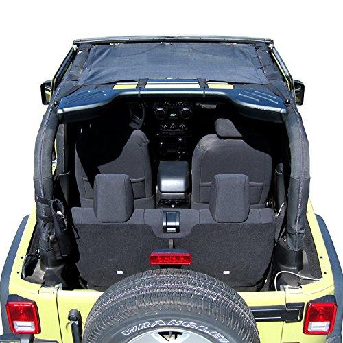 Price comparison product image TUFFSHADE Jeep Wrangler JK Mini Front Half Mesh Sun Shade Cover Safari Bikini Top 2007-2017 2-Door or 4-Door Features STOWAWAY POCKETS UV Protection 5-Year WARRANTY For JKMINI by Rugged TUFF