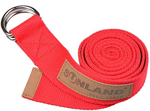 Sunland Yoga Stretching Belt Yoga Bands Fitness Training Strap Belt With Metal D-Ring and Leather Accents 6 Foot Length 1.65 Inch Width - Performance Sunland