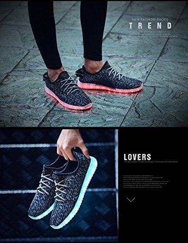 LED leuchten Schuhe Damen Herren Mode Sneaker USB wiederaufladbare & atmungsaktiv leuchtende blinkende Sportschuhe 7 Farben für Paare Blinkendes Schwarz