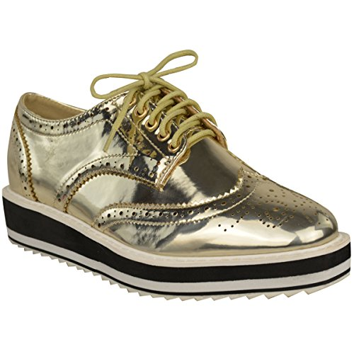 Creepers Size Flat Gold Sole Loafers Smart Thirsty Womens Lace Metallic Up Chunky Platform Fashion Shoes School xqwIHOn