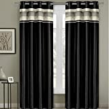 Pair of Two Top Grommet Blackout Thermal Insulated Curtain Panels, Triple-Pass Foam Back Layer, Elegant and Contemporary Milan Blackout Multilayer Energy Saving Panels, Black, Set of Two, 54″ W by 84″ L Each Panel (108″ W by 84″ L Pair)