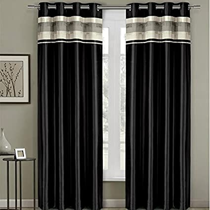 Pair Of Two Top Grommet Blackout Thermal Insulated Curtain Panels Triple Pass Foam Back